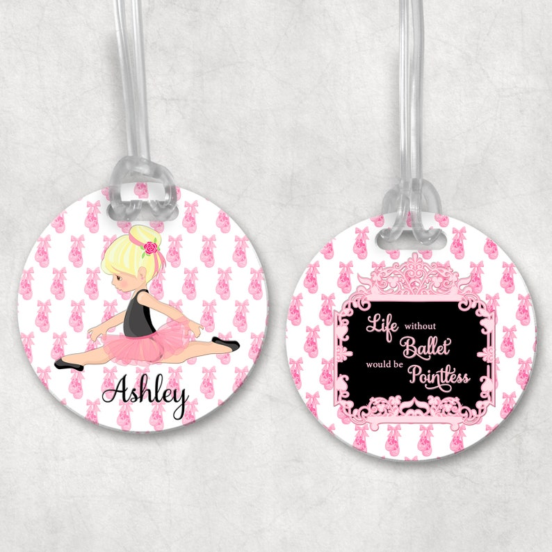 Ballet Bag Tag  Dance Bag Tag  Girls Luggage Tag  Kids Bag image 0
