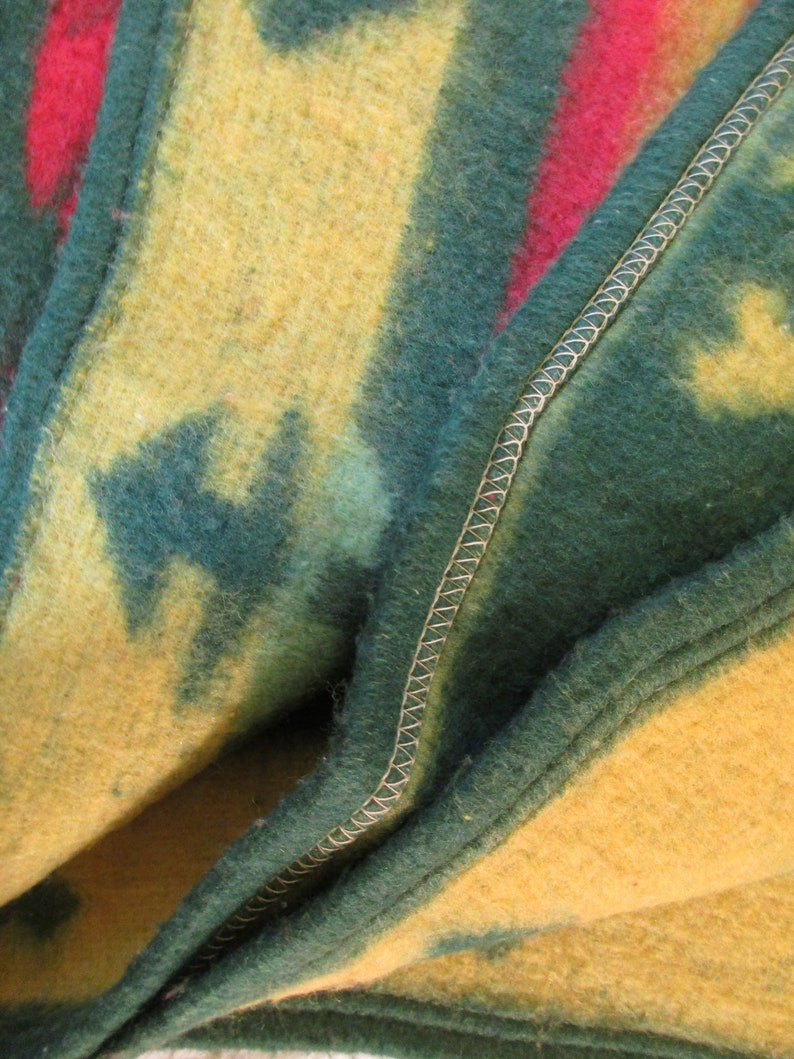 Indian/Camp Blanket - Southwestern Colors/Patterns - Red, Green, Sage,  Yellow - Rolled Hem - Soft Blanket - Reversible - Excellent Condition