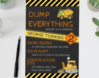 Construction Birthday Invite | Construction Birthday Invitation | Construction Birthday Party | Bulldozer | Dumptruck | Construction Party