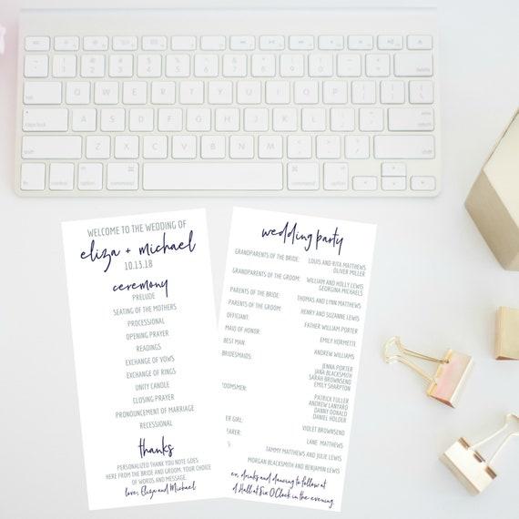 wedding program blue tones script font two sided wedding etsy