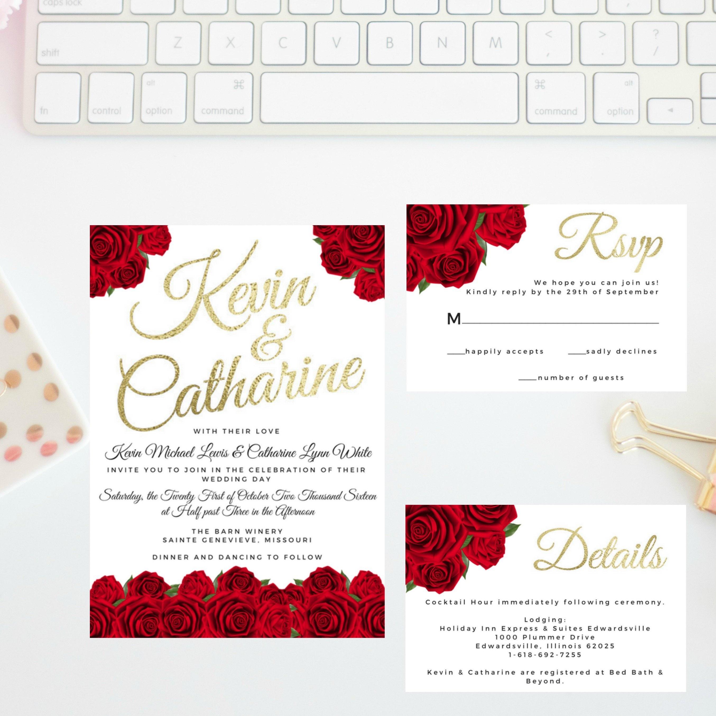 Red Rose Wedding Invitation Suite Rose Wedding Invitation | Etsy