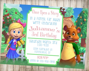 Goldie and Bear Birthday Party Invitation-Goldie and Bear Birthday-Digital File-You Print