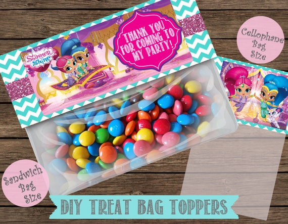 Shimmer and shinne Treat Bag Toppers Candy Bag Toppers Printable Candy Bag Toppers Labels for Birthday Party Favor Bags Instant Download