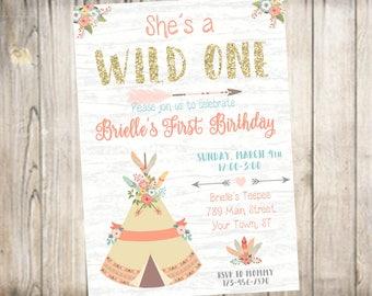 First Birthday Party Invitation-Wild One Birthday-Digital File-You Print