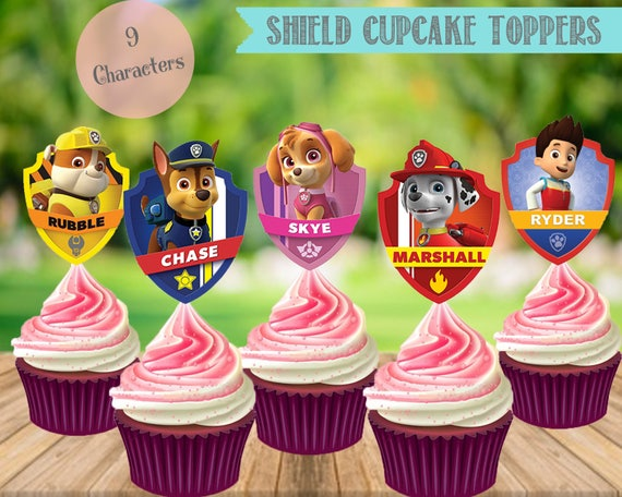Outstanding Paw Patrol Cupcake Toppers Paw Patrol Shields Birthday Party Etsy Funny Birthday Cards Online Hetedamsfinfo