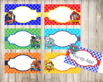 Paw Patrol Blank Food Tent Cards Labels- Editable- Paw Patrol Birthday Party Labels- Digital- Instant Download