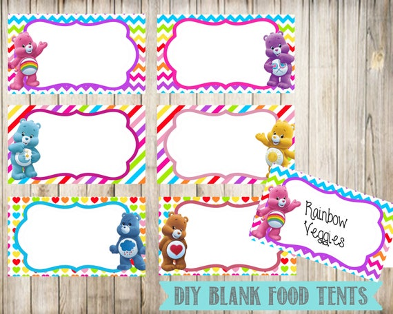 Digital Instant Download Blank Place Cards Care Bears Blank Food Tent Cards Labels Care Bears Birthday Party Labels