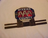 c1920s AAA Motor Club McKean County, PA. Enamel Brass Car Automobile License Plate Tag Topper Sign, Car Restoration or Man Cave Decor