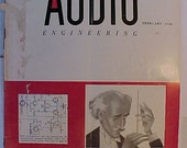February 1954 Audio Engineering Magazine has 72 pages of ads and articles, Antique Radio,Stereo,Microphone, Amplifier ,Electronics Magazine