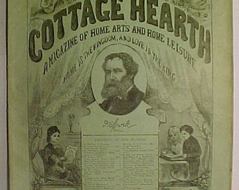 August 1877 The Cottage Hearth Magazine Boston, Mass. has 32 pages of ads and articles with James Russell Lowell on the cover