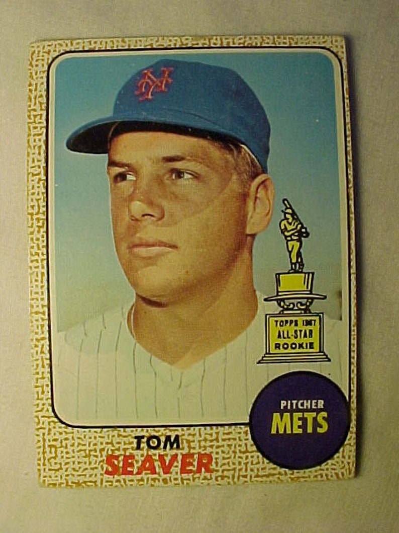 1968 Tom Seaver Mets Pitcher Rookie Topps 45 Baseball Trade Card Vintage Baseball Card Sports Bar Decor Sports Card Collector
