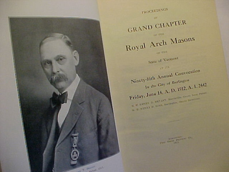 1912 Grand Royal Arch Chapter of Vermont 95th Annual Convocation Burlington Vermont Vintage Masons Masonic Temple Grand Lodge Book