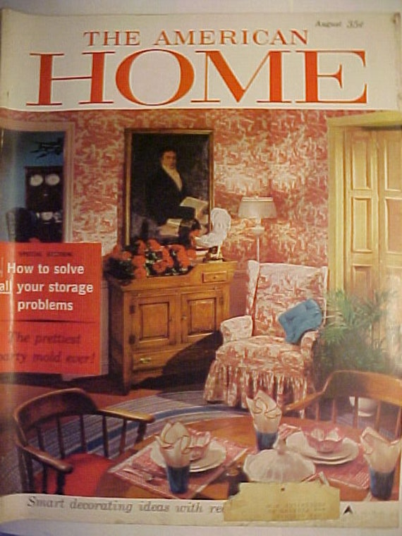 August 1959 The American Home Magazine has 90 pages of ads and articles  ,Vintage Interior Decorating Magazine cover by Vincent Lisanti