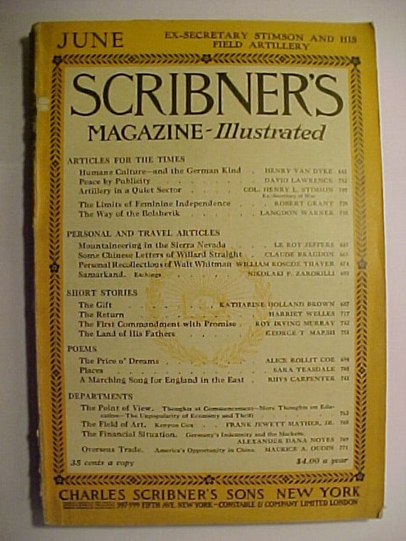 June 1919 Scribners Magazine Charles Scribners Sons Etsy
