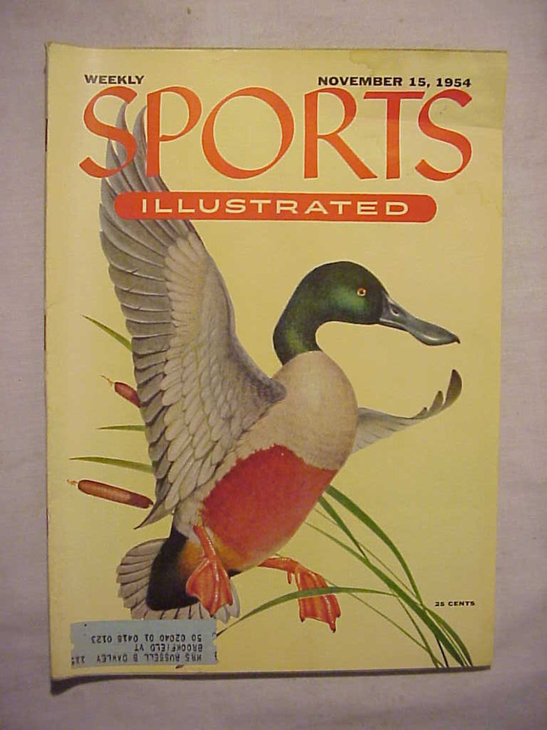 has 86 pages of ads and articles Sporting Goods Magazine November 15 1954 Sports Illustrated Magazine with cover art by Athos Menaboni