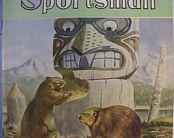 October 1950 The Alaska Sportsman with Cover art by Yale Gracey , Vintage Hunting Magazine with 38 pages of ads and articles