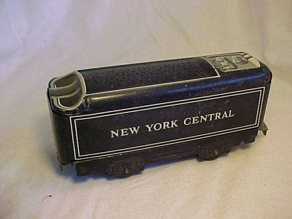 c1950s Marx no 551 modèle Train New York Central voiture O Gauge modèle Train de charbon, étain Litho voiture, Man Cave Decor, Post guerre Train Set