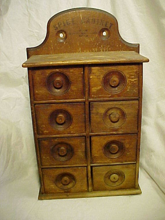 image 0 - C1890s-1920 Antique Wood 8 Drawer Spice Cabinet Antique Etsy