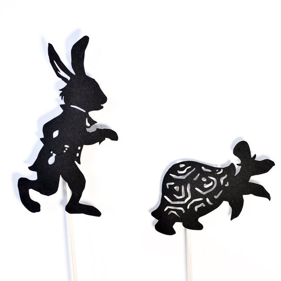 Liebre y tortuga Shadow Puppet Set | Etsy