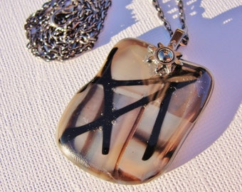 Fused Glass Pendant Necklace with Gunmetal Chain and Sunshine Bail 24""