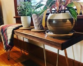Mid century walnut dining bench, walnut console table - 9 with brass legs, home