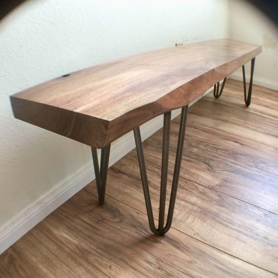 Mid Century Walnut Bench Solid Wood Dining Bench 7 | Etsy