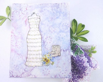 CUSTOM Wedding Dress Sketch - Unique Bridal Shower Gift - First Anniversary Gift - Original Watercolor Wedding Dress Painting