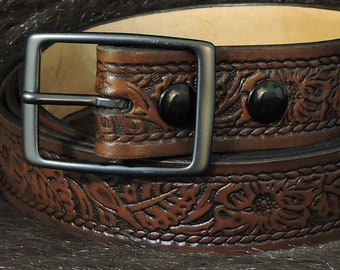 Western Floral Rope Edge Embossed 1.5in Custom Leather Work Belt