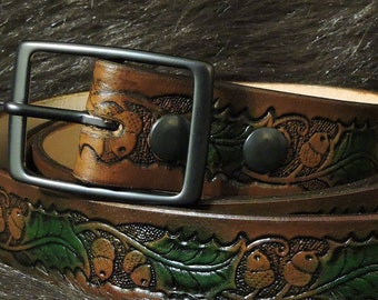 Acorn & Oak Leaf Embossed 1.5in Custom Leather Work Belt