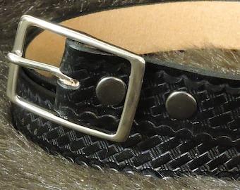 Basketweave Embossed 1.5in Custom Leather Work Belt