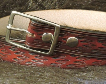 Flame Embossed 1.5in Custom Leather Work Belt