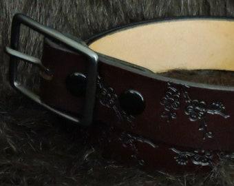 Cherry Blossom Embossed 1.5in Custom Leather Work Belt