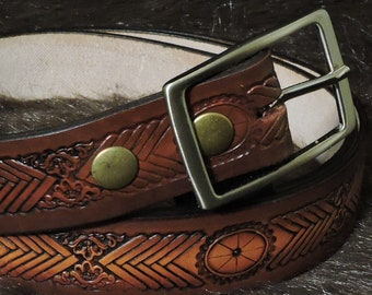Western Chevron Embossed 1.5in Custom Leather Work Belt