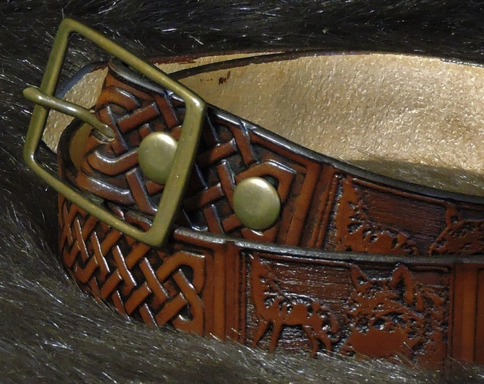 Featured listing image: Large Celtic & Wolf Embossed 1.5in Custom Leather Work Belt