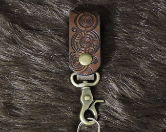Time Lord Script Heavy Leather Key Fob