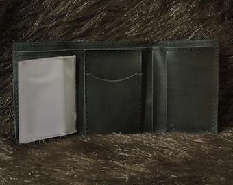 Plain Black Tri-Fold Leather Wallet