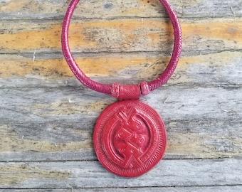 Touareg Braided Leather Necklace & Amulet
