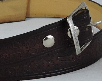 Steampunk Embossed 1.5in Custom Leather Work Belt