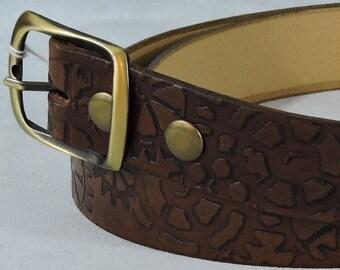Antique Steampunk Cogwheel Embossed 1.5in Custom Leather Work Belt
