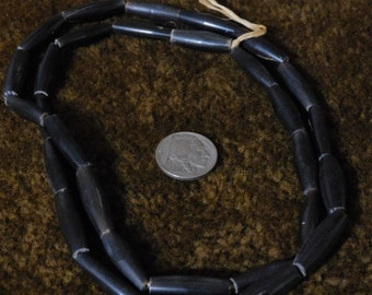 Black Horn Hairpipe Beads, 1in (30pc)