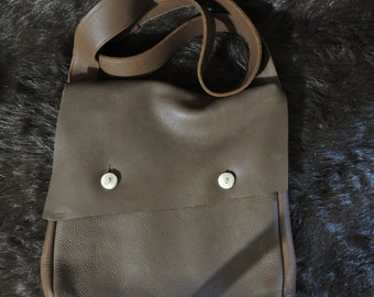 Gusseted Heavy Leather Haversack / Satchel / Shoulder Bag / Messenger Bag