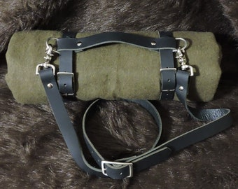 Blanket / Bed Roll / Sleeping Bag Leather Straps (30-35in)
