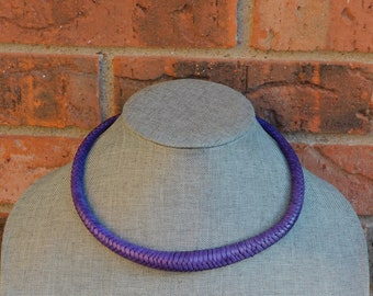 Touareg Braided Leather Necklace, Purple