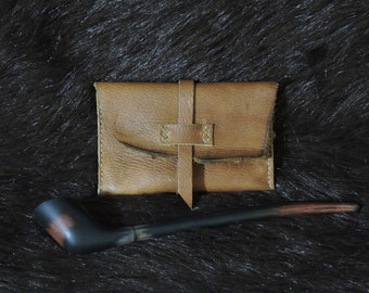 Tan Hand Stitched Rustic Style Tobacco Pouch OOAK