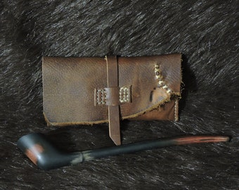 Dark Brown Hand Stitched Rustic Style Tobacco Pouch OOAK