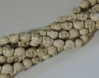 White Howlite Skull Beads 10 Strand Bundle (12-13mm)
