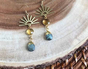 Gold Sunshine Dangle Earrings Boho Gemstone Jewelry Labradorite and Sun Drop Earrings