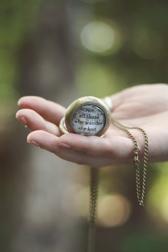 Not All Who Wander Are Lost R J R Tolkien Quote Necklace Glass Cabochon
