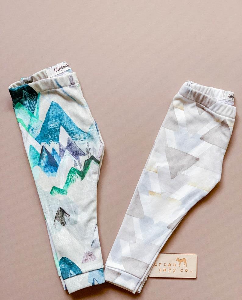 Organic Mountains Pants Handmade Girl Unisex Set of 2 Baby Leggings Rustic Neutral Watercolor Triangles Woodland Ecofriendly Boy