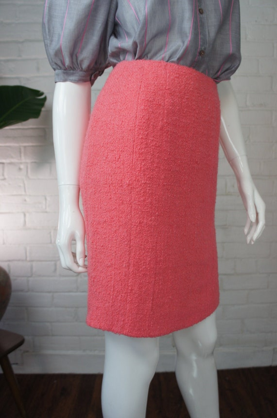 CHANEL Vintage 1990's Coral Pink Bouclé Wool Penci